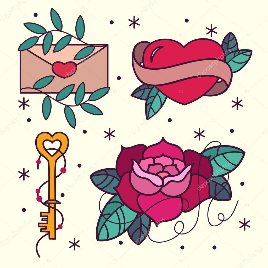 Old School Tattoo Flash Pattern With Roses Hearts Birds Keys And