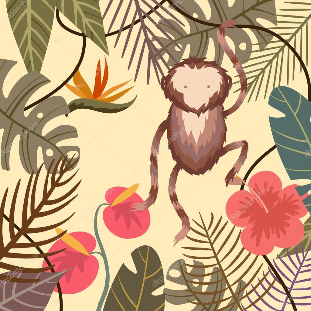 Vector tropical background with flower, palm leaves and monkey
