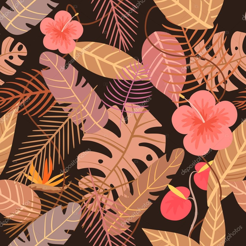 seamless tropical vector pattern with flower and palm leaves on dark background