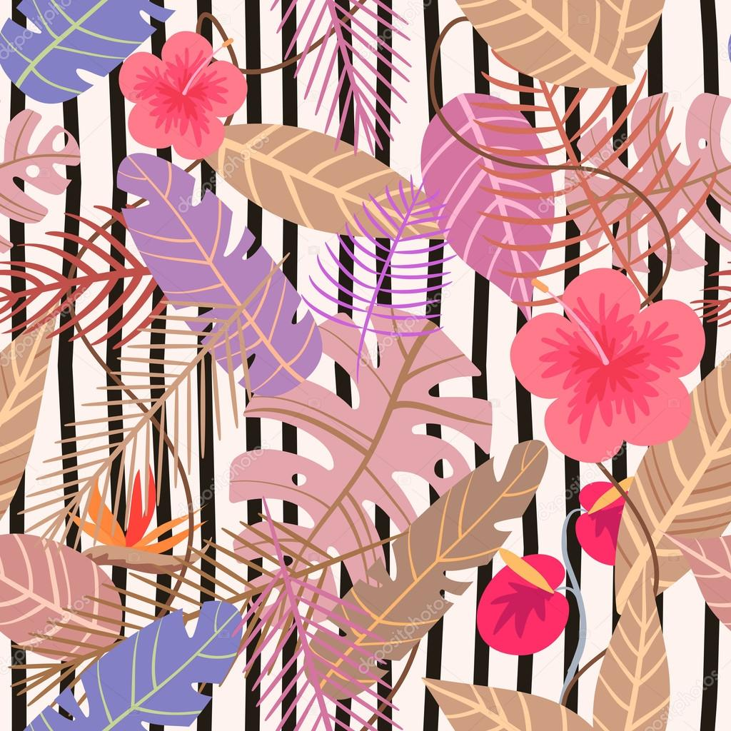 seamless tropical vector pattern with flower and palm leaves on stripe background