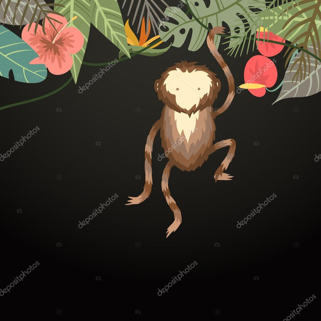 Vector tropical border frame with flower, palm leaves and monkey on dark background