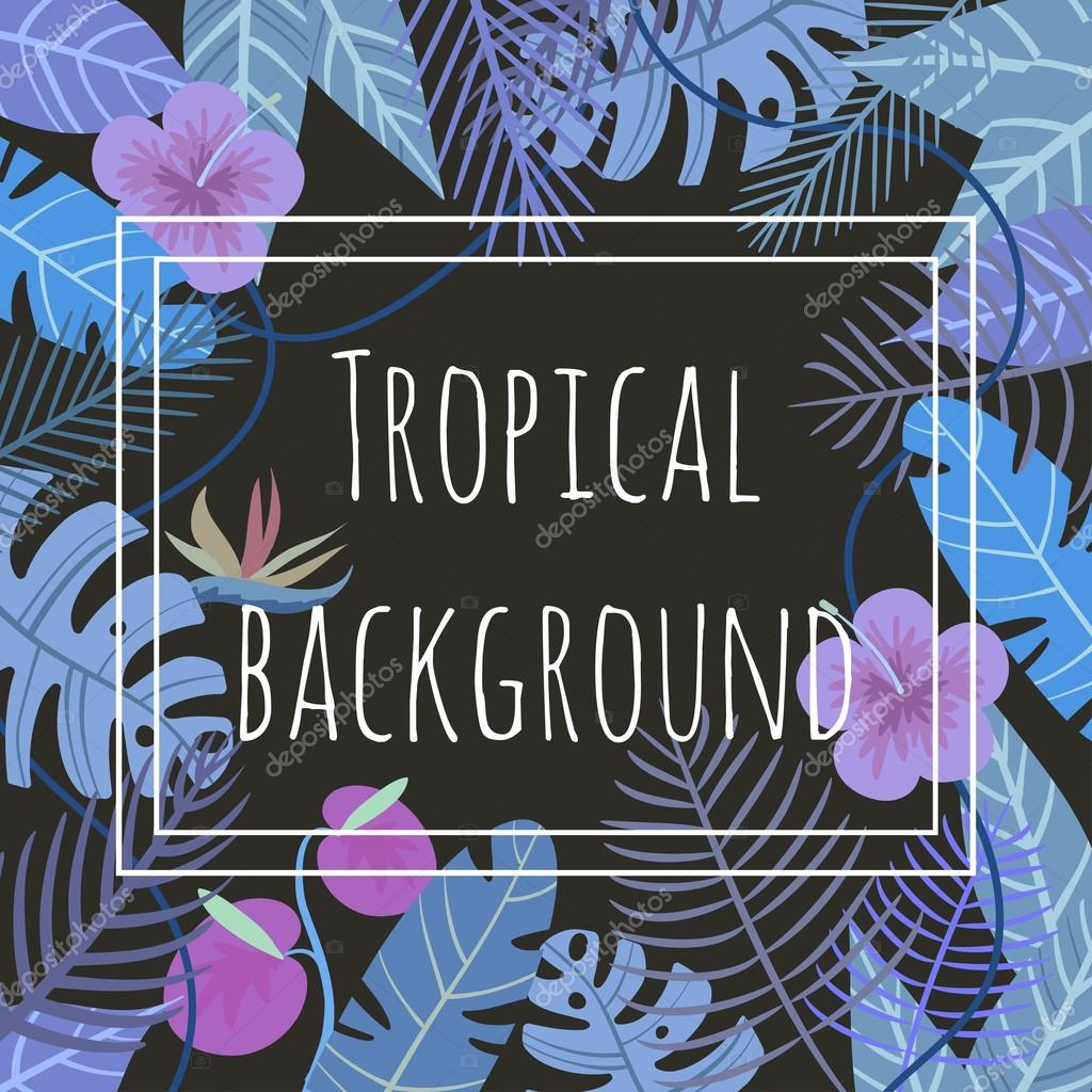 tropical vector background with flower and palm leaves