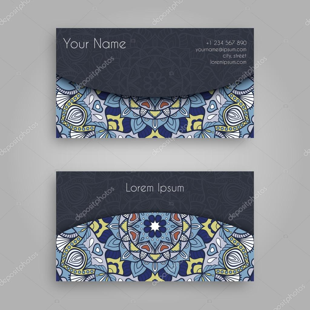 Business card template with mandala designntage decorative business card template with mandala designntage decorative elements hand drawn background islam reheart Images