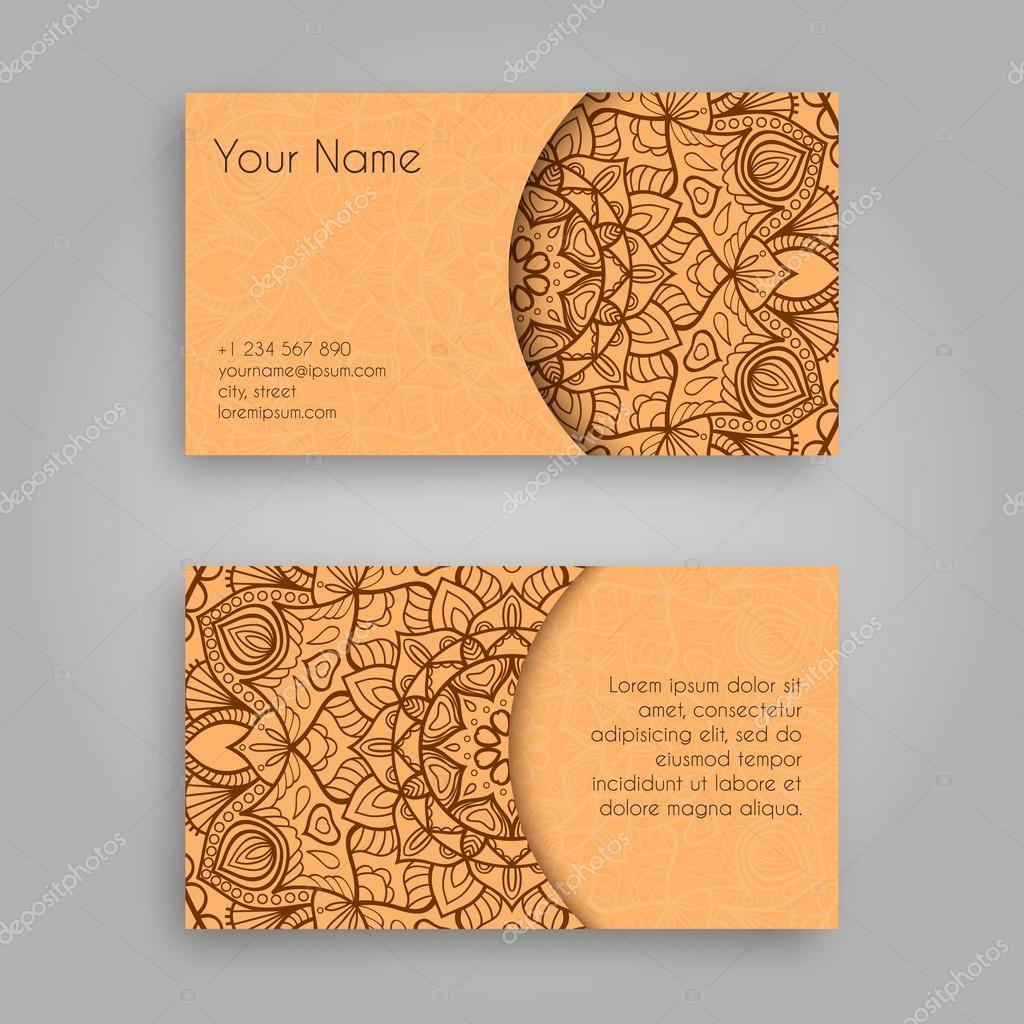 Business card template with mandala designntage decorative business card template with mandala designntage decorative elements hand drawn background islam reheart Choice Image