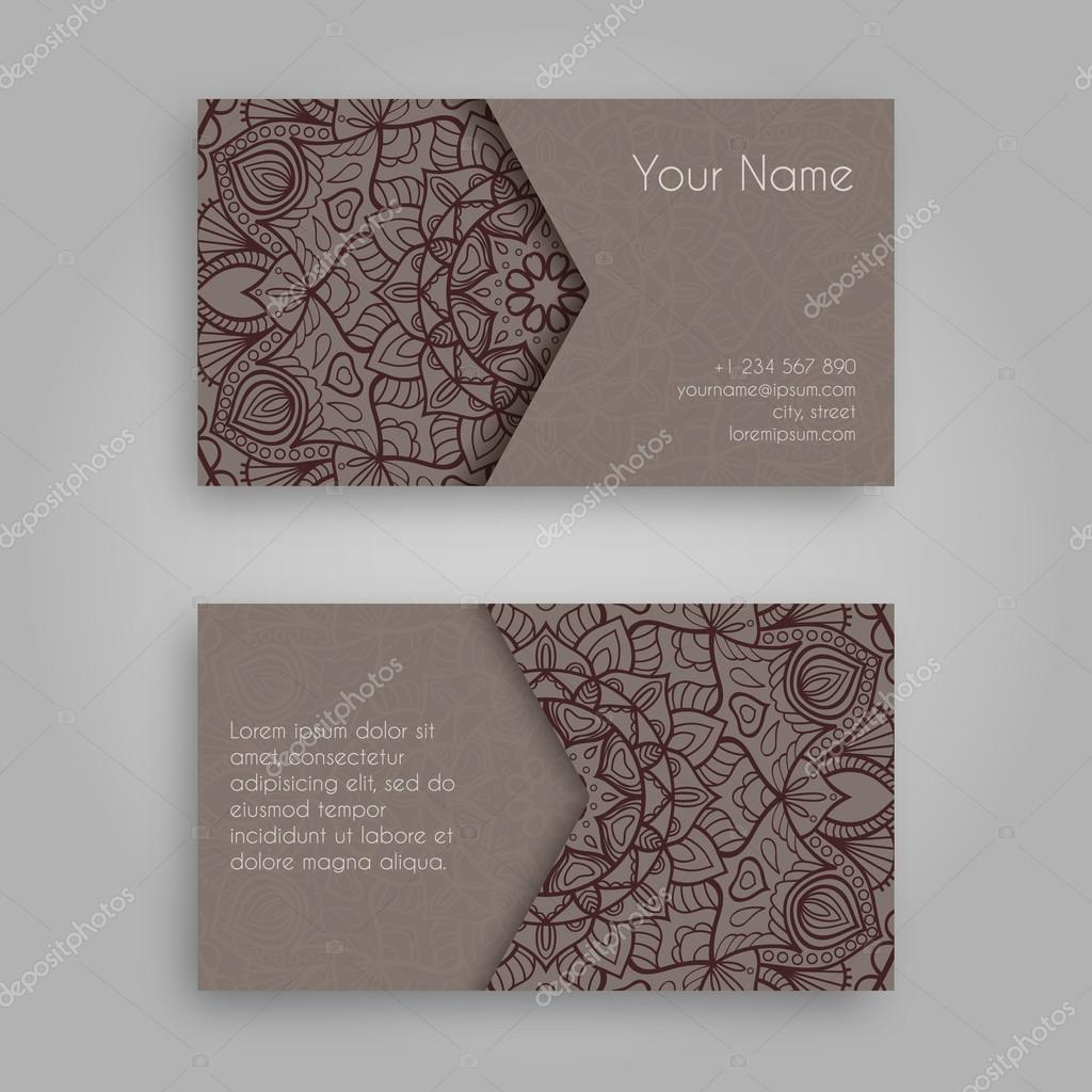 Business card template with mandala designntage decorative business card template with mandala designntage decorative elements hand drawn background islam reheart Gallery