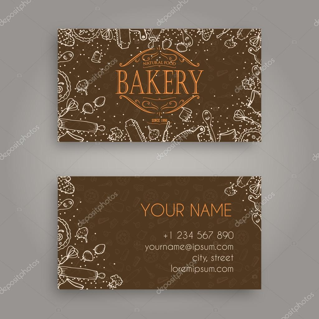 Vector business card design template with doodle bakery hand drawn vector business card design template with doodle bakery hand drawn pattern and vintage bakery emblem reheart Choice Image