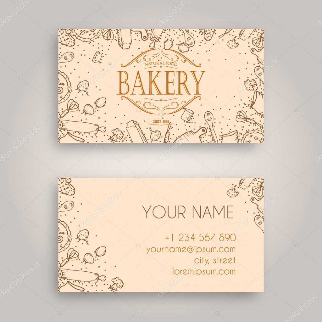 Vector Business card Design Template with doodle bakery hand drawn ...