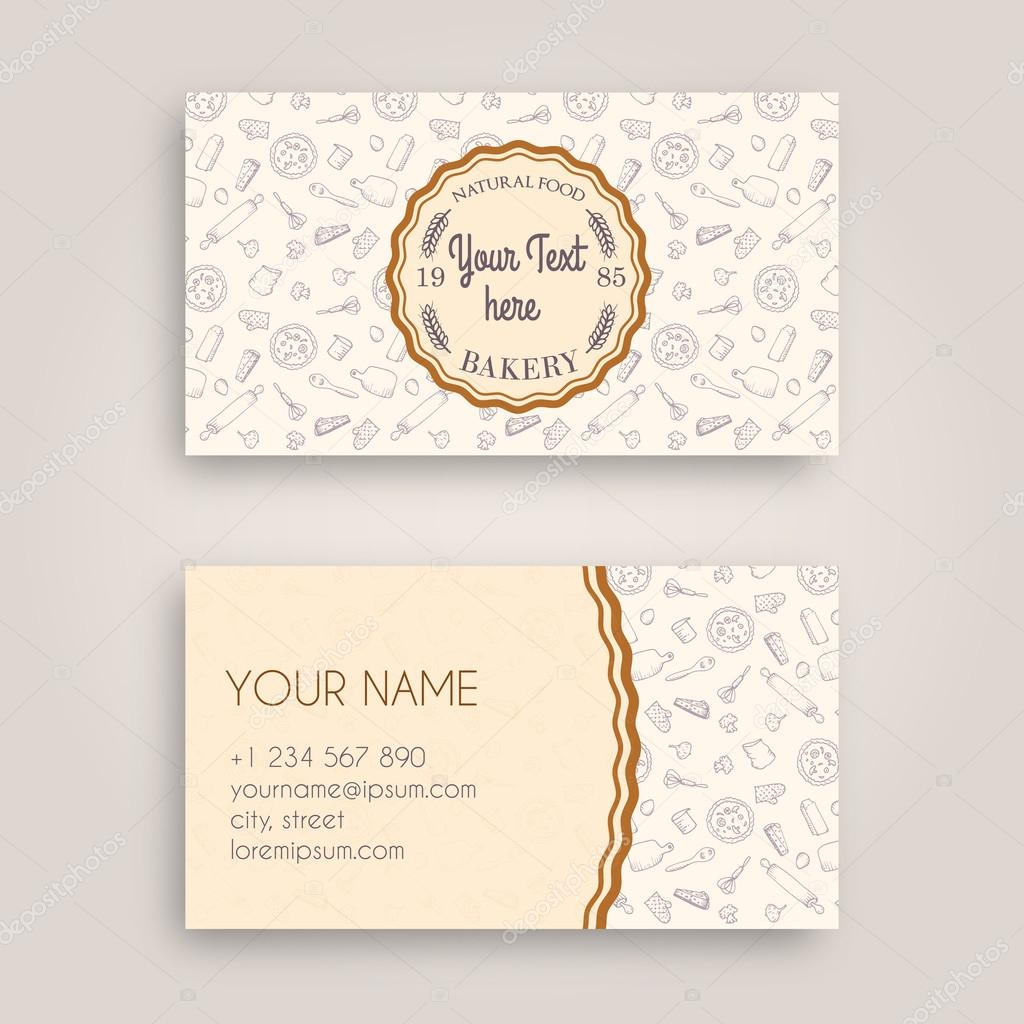 Vector business card design template with doodle bakery hand drawn vector business card design template with doodle bakery hand drawn pattern and vintage bakery emblem reheart Gallery