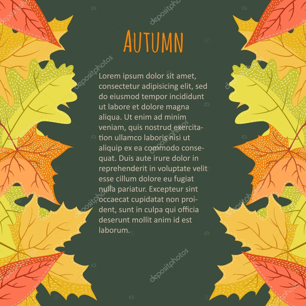 Bright colourful vertical border with autumn leaves on dark background. You can place your text in the center.