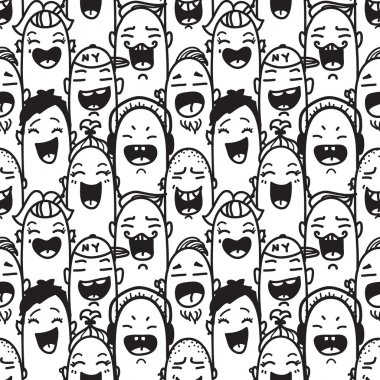 Crowd of laughing people. Hand drawn seamless pattern.