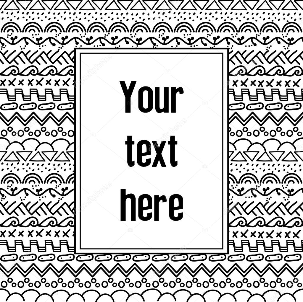 Black And White Tribal Seamless Pattern Aztec Geometric Print Ethnic Hipster Background With Your