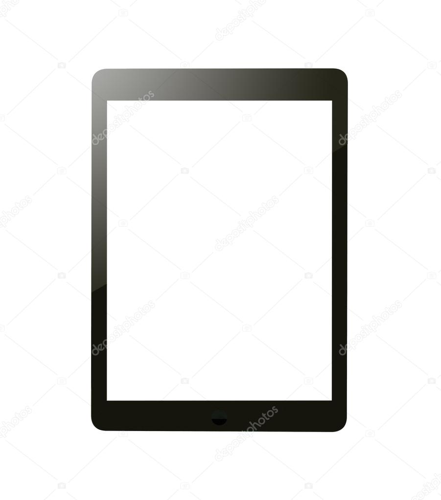 black tablet with blank screen for template isolated stock photo