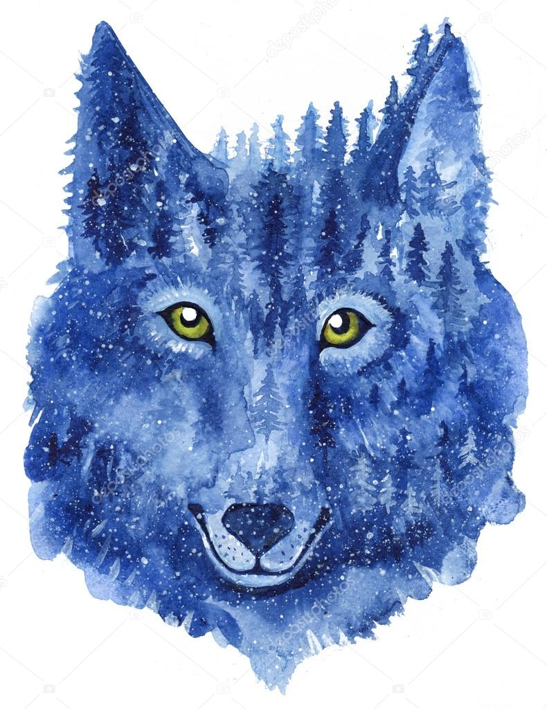 Wolf. Forest animal. Watercolor Animal Wolf.
