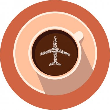 Airplaine in the vector coffee cup. Coffee cup and airplane in flat design.Round coffee icon. Transport icons.