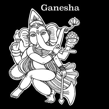 Dancing Ganesha line art illustration. Dancing elephant. Hindu God. Indian God. Travel in India illustration.