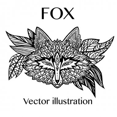 Fox head tattoo sketch. Native american style. Ethnic animals vector illustration. Ethnic fox / african / indian / totem