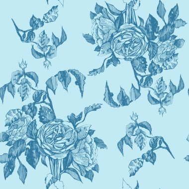 Vintage roses hand drawing seamless pattern.