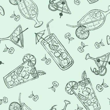 Seamless doodle cocktail pattern. Pastel color background with juice, cocktails, and fruits.