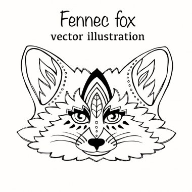 Hand Drawn vector illustration fennec fox isolated on white background. Vintage sketch for tattoo design. Animal art collection.
