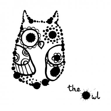 Funny hand drawn ink owl black and white illustration.