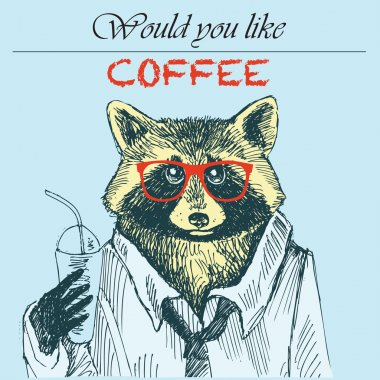 Hipster raccoon vector illustration. Raccoon with coffee and sunglasses. Hipster animals.