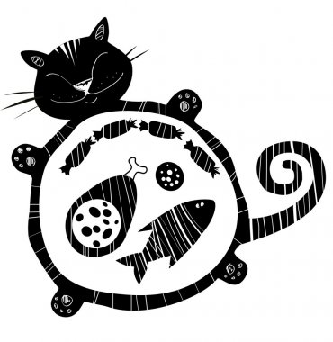 Funny vector  cat full of food . Sleeping  funny fat cat. Happy cat silhouette.