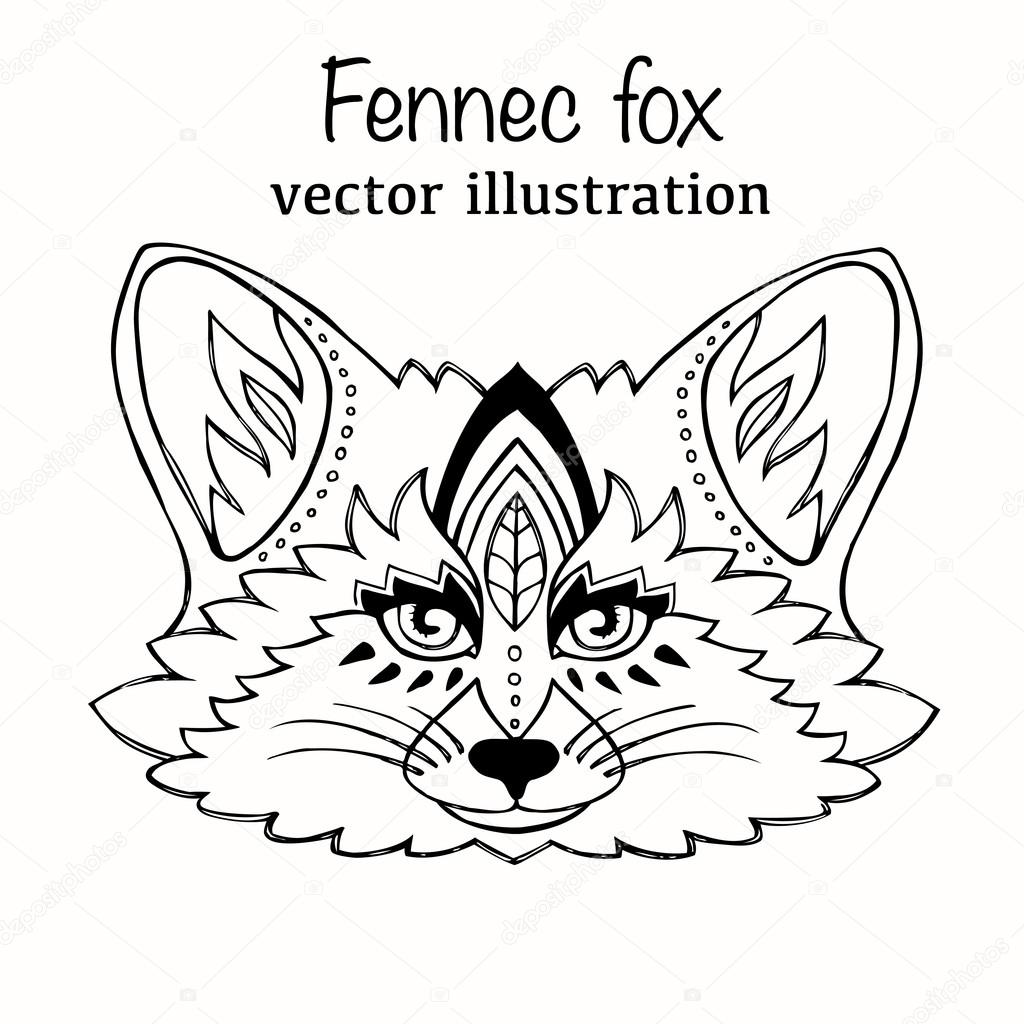 Hand Drawn Vector Illustration Fennec Fox Isolated On White