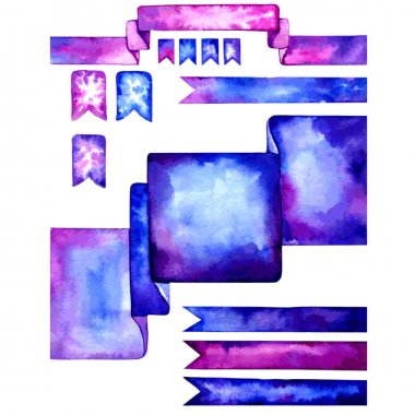 Set of watercolor design elements. Blue, pink and violet ribbon tags, frame, divider. Watercolor hand drawn templates for your website.
