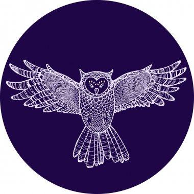 Flying hand drawn owl. Tattoo sketch.