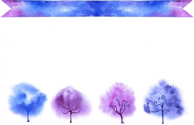 Watercolor trees vector illustration. Cards templates.