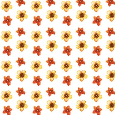 Watercolor isolated tulips and red watercolor splashes. Watercolor flowers on white background. Tulip seamless pattern.