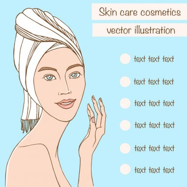 beautiful woman touch her face. skin care, face treatment. beauty product vector illustration.