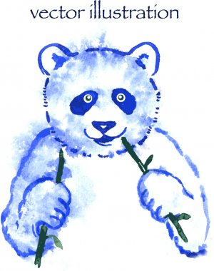 Funny watercolor panda hand drawn illustration.