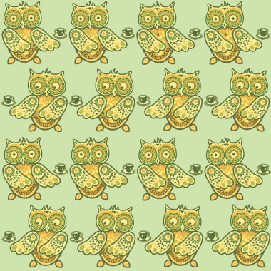Cute owl seamless pattern. Coffee pattern. Funny animals pattern.  You can use it in textile design, greeting cards, graphic design.