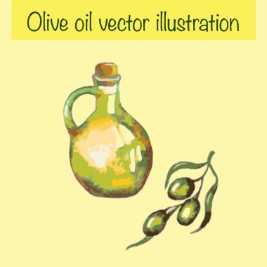Watercolor olive oil bottle isolated on yellow background. You can use it like design template for you beauty product. It can be used for card, menu, recipe.