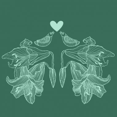 Hand drawn vector lily flowers and love birds background. Vintage floral and love vector illustration. Can be used for invitation cards for wedding, interior decoration, print for t-shirt etc.