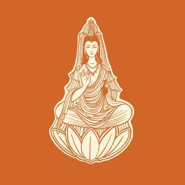 Guanin chinese goddess. Healing concept