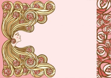 Hair treatment vector illustration. Natural hair cosmetics. Profile of beautiful woman with flowers in long wavy hair.