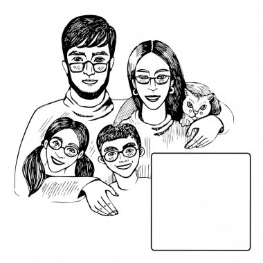 Smiling family four peoples in glasses. Young family woman, husband, son, daughter and cat. Hand drawing vector black and white  illustration space for text.