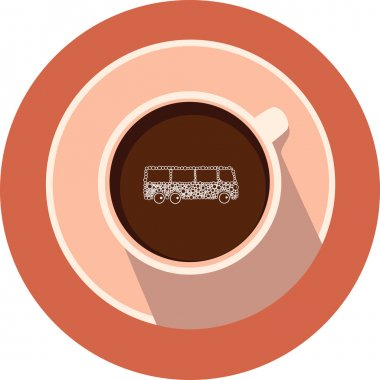 Bus in the vector coffee cup. Coffee cup and bus in flat design.Round coffee icon.