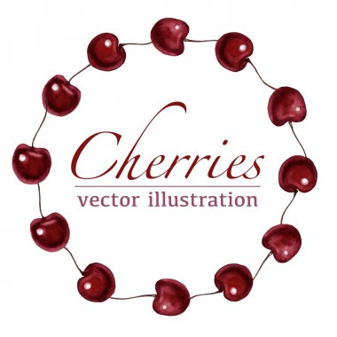 Watercolor cherries round vector frame border