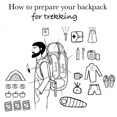 Travel info graphics. Backpack for trekking info graphics. Trekking into the mountains infographisc. Backpacker. Trekking info graphics. rock climber.