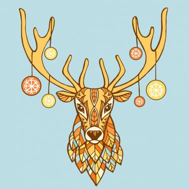 Christmas deer hand drawn vector illustration.  Ethnic animals vector illustration. Ethnic deer / african / indian / totem. Christmas new year background.
