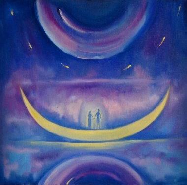 Love couple on the Moon into the space. St Valentine's illustration