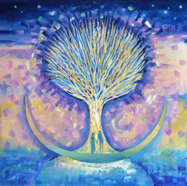 """Картина, постер, плакат, фотообои """"любовная пара на луне ищет древо жизни ."""", артикул 94183586"""