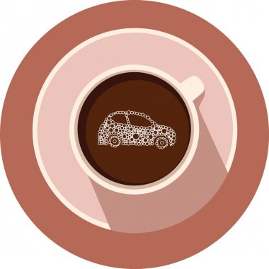 Car in the vector coffee cup. Coffee cup and car in flat design.Round coffee icon. Transport icons.