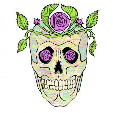 Vintage pirate skull with flowers wreath vector illustration.
