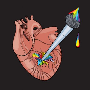 Anatomic human's heart with artist brush and rainbow splashes. Vector illustration. Love for art concept. Art healing concept.