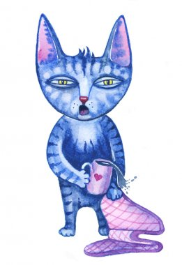 Sleepy cute cartoon cat early in the morning with cup of coffee or tea watercolor illustration.