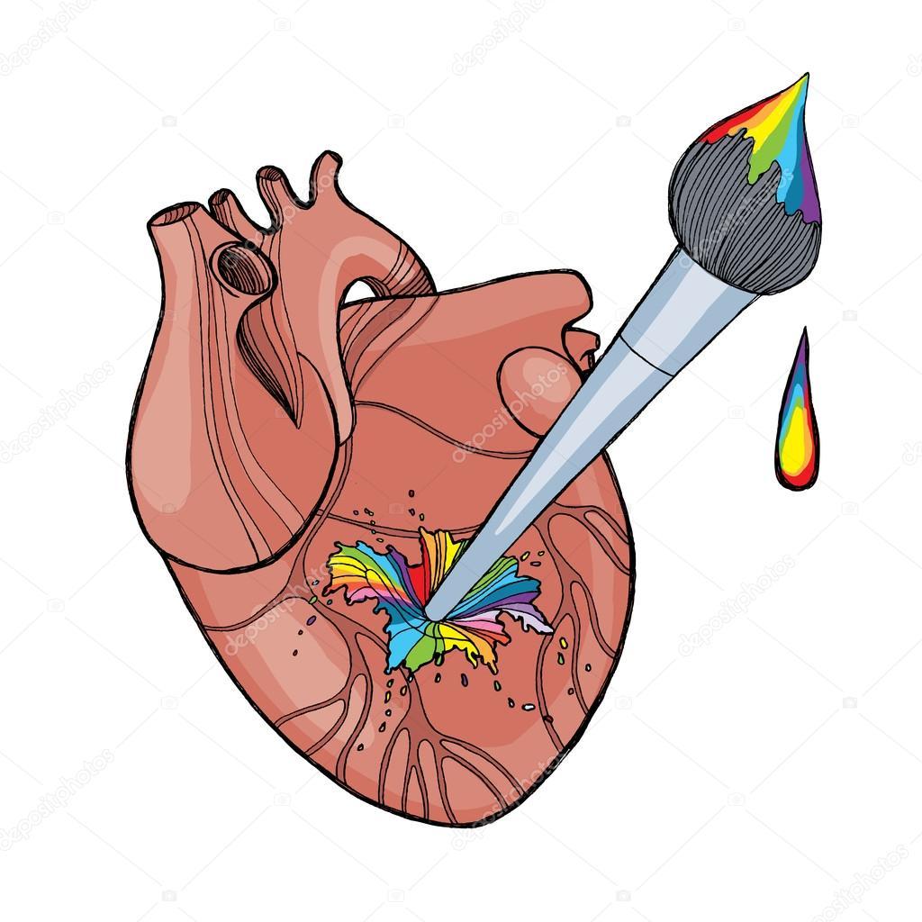 Anatomische menschlichen Herzen mit Künstler-Pinsel und Regenbogen ...